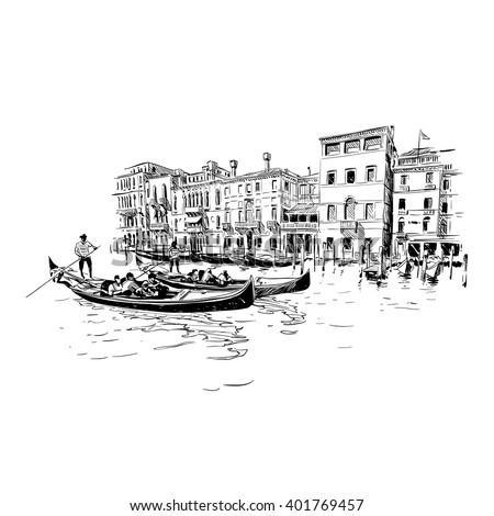 Italy. Venice. Hand drawn sketch vector illustration