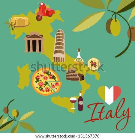 Italy with love - stock vector