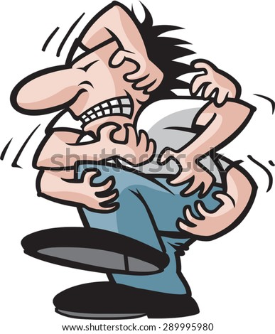 Itching Dude.  Cartoon Man with an itch. Vector file. - stock vector