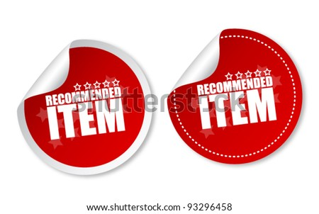 Item recommended stickers - stock vector