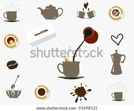 items for coffee - stock vector