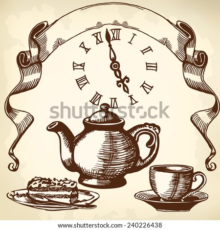 Items for tea. Drawing in the old style. - stock vector