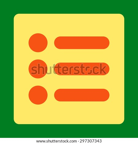 Items icon from Primitive Buttons OverColor Set. This rounded square flat button is drawn with orange and yellow colors on a green background.