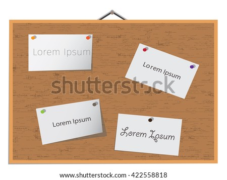 Items pinned to a cork board, Cork board vector - stock vector