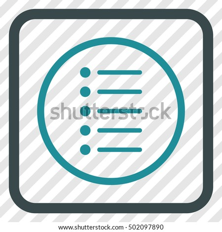 Items soft blue vector icon. Image style is a flat icon symbol inside a rounded square frame on a transparent diagonally hatched background.