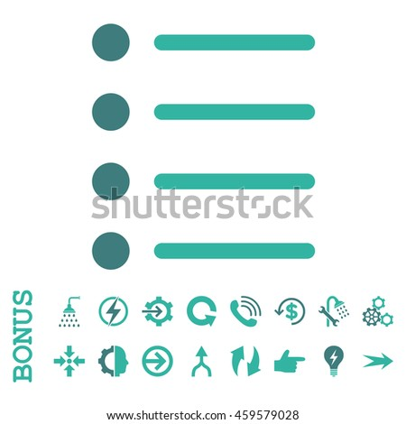 Items vector bicolor icon. Image style is a flat iconic symbol, cobalt and cyan colors, white background.