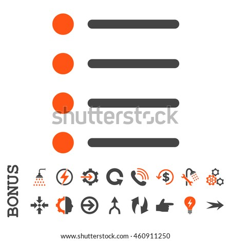 Items vector bicolor icon. Image style is a flat iconic symbol, orange and gray colors, white background.