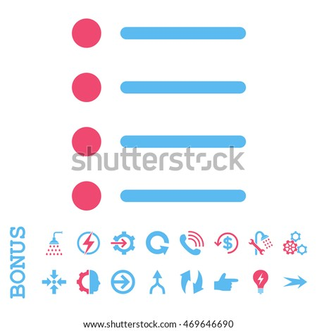 Items vector bicolor icon. Image style is a flat iconic symbol, pink and blue colors, white background.