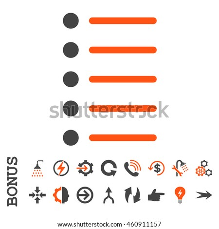Items vector bicolor icon. Image style is a flat pictogram symbol, orange and gray colors, white background.
