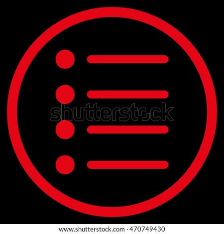 Items vector icon. Style is flat rounded iconic symbol, items icon is drawn with red color on a black background.