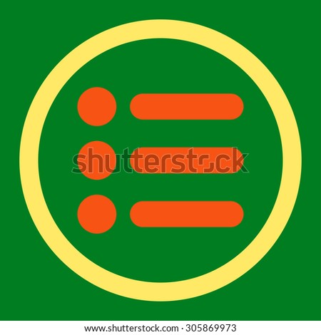 Items vector icon. This rounded flat symbol is drawn with orange and yellow colors on a green background.