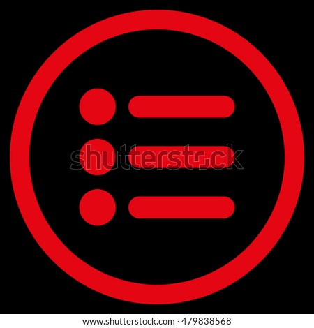 Items vector rounded icon. Image style is a flat icon symbol inside a circle, red color, black background.