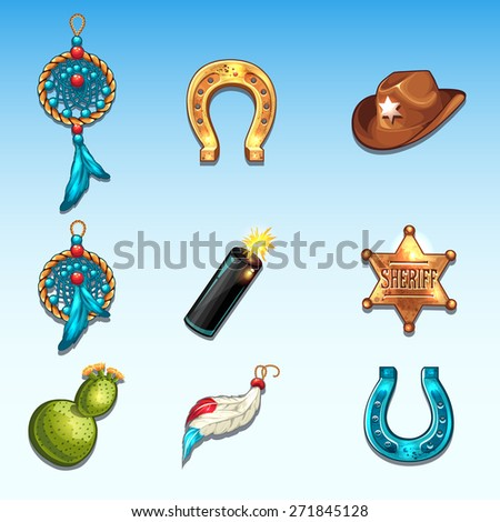 Items Wild West to a computer game three in a row - stock vector