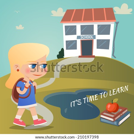 Its time to learn vector illustration with a young girl carrying a backpack walking up a winding path to a hill on a hilltop with text and an apple on textbooks - stock vector