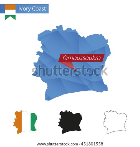 Ivory Coast blue Low Poly map with capital Yamoussoukro, versions with flag, black and outline. Vector Illustration. - stock vector