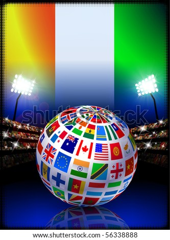 Ivory Coast Flag Globe on Stadium Background Original Illustration