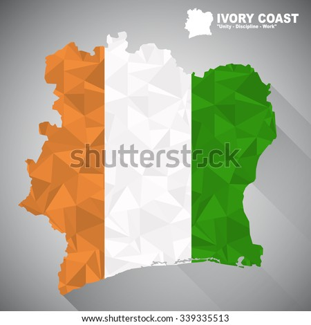 ivory coast flag overlay on ivory coast map with polygonal and long tail shadow style
