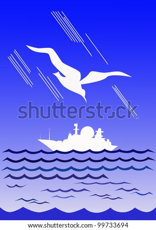 Ivory gull flies over a white warship.