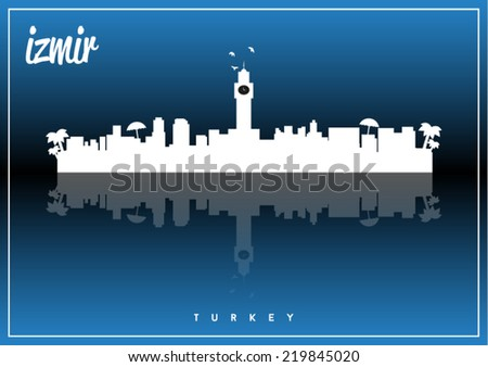 Izmir, Turkey skyline silhouette vector design on parliament blue background. - stock vector