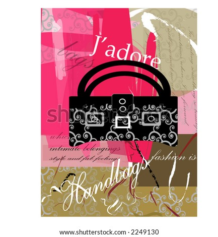 J'adore series  - handbag - stock vector