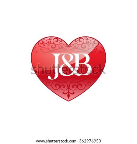 jl initial letter couple logo ornament stock vector