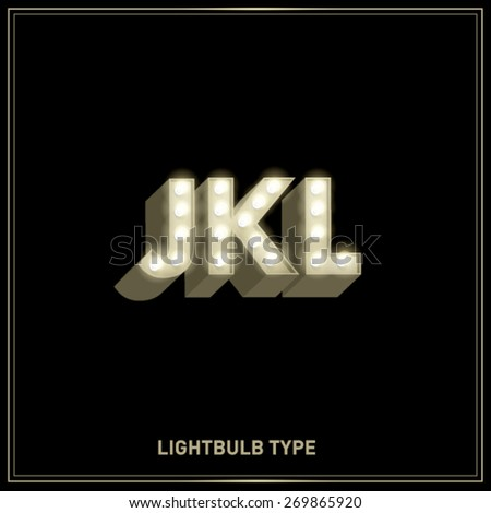 j,k,l lightbulb typeface/font vector/illustration - stock vector
