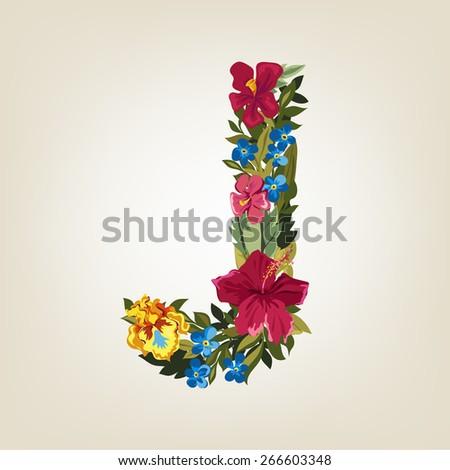 J letter. Flower capital alphabet. Colorful font. Uppercase.  Vector illustration. - stock vector