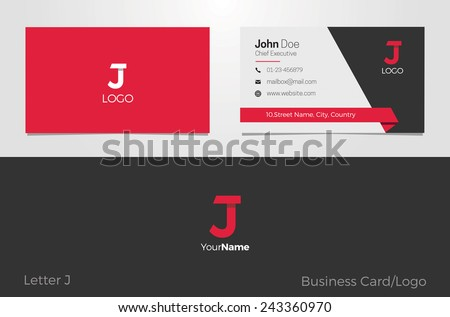 J Letter Logo Corporate Business card - stock vector
