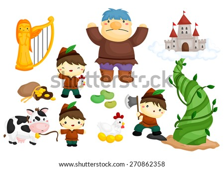 jack and the beanstalk - stock vector