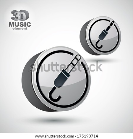 Jack audio input icon, 3d vector design element isolated, 2 versions set. - stock vector
