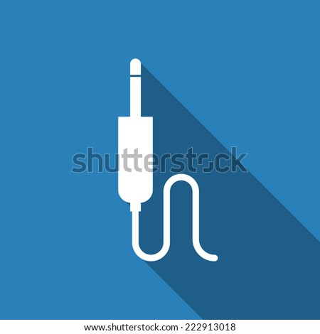 jack cable icon with long shadow  - stock vector