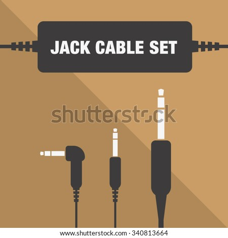 Jack cable set isolated flat vector icon. - stock vector