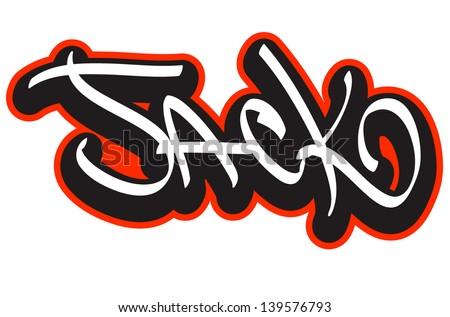 Jack Graffiti Font Style Name Hiphop Stock Vector