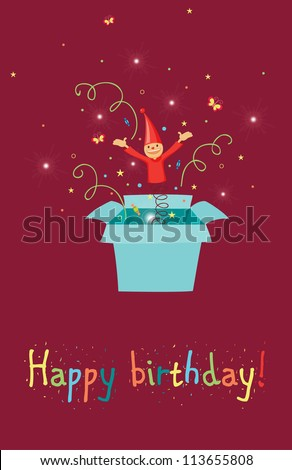 Jack in the box birthday card - stock vector