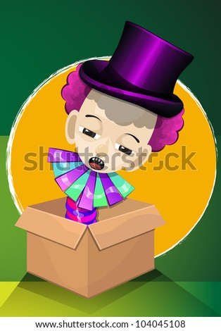 Jack in the Box, Boy with Pink Curly Hair, with Purple Magicians Hat, vector illustration - stock vector