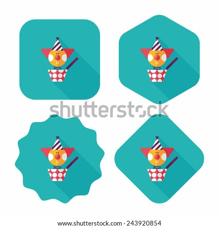 Jack in the box flat icon with long shadow,eps10 - stock vector