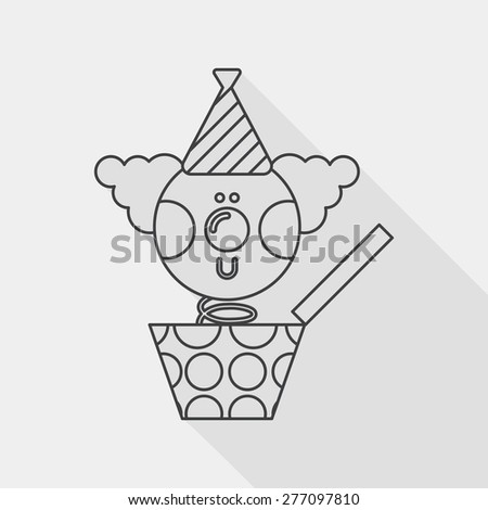 Jack in the box flat icon with long shadow, line icon - stock vector