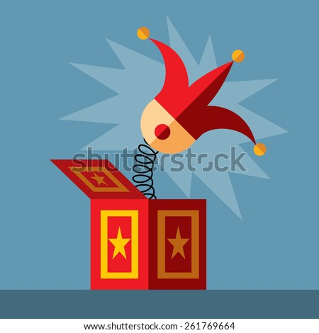 jack in the box toy, springing out of a box. Flat vector illustration. - stock vector