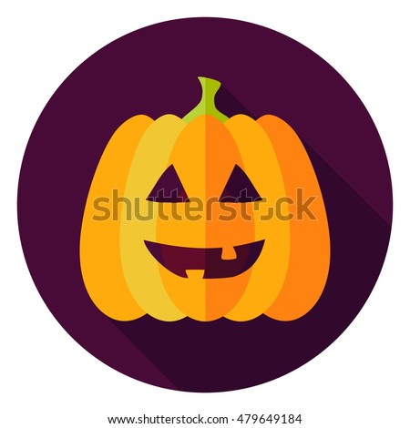 Jack Lantern Circle Icon. Flat Design Vector Illustration with Long Shadow. Happy Halloween Symbol.