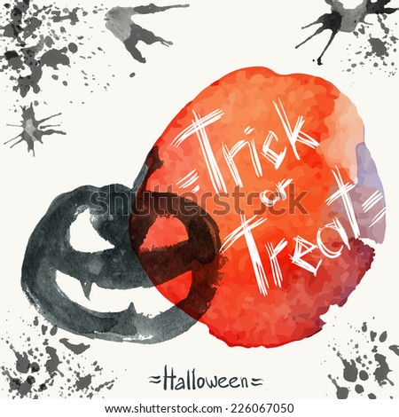 Jack O'Lantern and a spot of blood on Halloween - stock vector