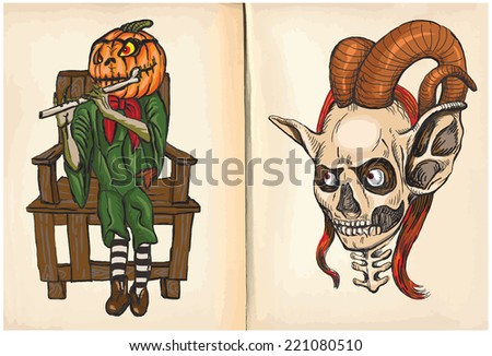 Jack O-Lantern and Monster Head - An hand drawn and painting illustrations. Description: Each drawing comprise of two (or three) layers of lines plus colored layer, the background is also isolated. - stock vector
