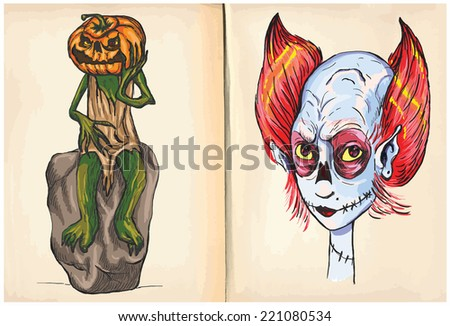 Jack O-Lantern and Monster Head (Halloween) - An hand drawn and painting illustrations. Each drawing comprise of two (or three) layers of lines plus colored layer, the background is also isolated. - stock vector