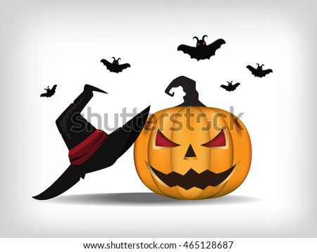 Jack-O-Lantern. Halloween pumpkin with black witches hat. Vector illustration.