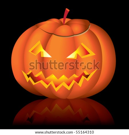 Jack-o-lantern halloween vector illustration on black background