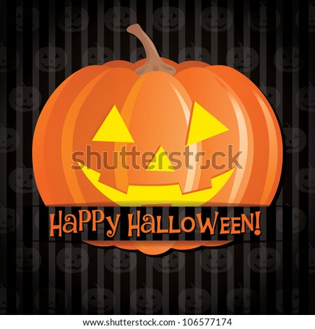 Jack o lantern Happy Halloween card in vector format. - stock vector