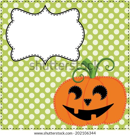 Jack o lantern or carved pumpkin on a green polka dot background with a frame for text or photos, vector format - stock vector