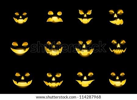 Jack-o-lantern pumpkin faces glowing on black - stock vector