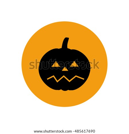 Jack-o-lantern pumpkin halloween on the yellow background. Vector illustration