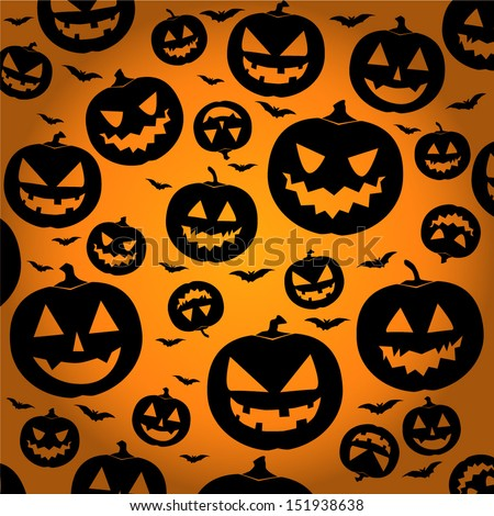 Jack O Lantern Silhouette Background / Halloween Pumpkin Wallpaper - vector illustration eps10  - stock vector