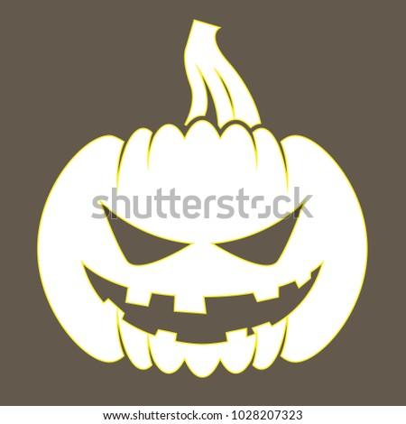 Jack o lantern sticker with silhouette of halloween pumpkin